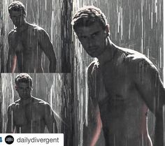 Theo sexy and shirtless in the rain, black and white. Tobias, Divergent Theo James, Divergent Series, Sanditon 2019, Theodore James, Tris And Four, Shirtless Men, Dream Guy, Paul Mccartney