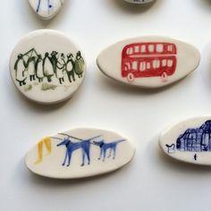 Ceramic brooches / Polly Fern