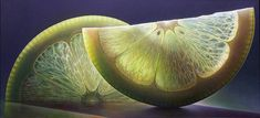 Dennis Wojtkiewicz : is best known for his exploration of the sensitive nature of time in his oversized oil paintings of fruit and flowers. The transitory nature of his subject matter is encapsulated and transfixed with a heightened approach to realism - Tumblr.-