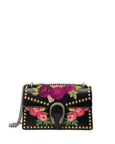 Dionysus Small Embroidered Shoulder Bag, Black/Multi by Gucci at Neiman Marcus.