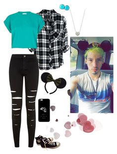 """""""Disney world with Tyler and Josh"""" by oxxnjaxxo ❤ liked on Polyvore featuring Rails, New Look, River Island, Converse, Disney and Links of London"""