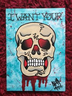 I Want Your Skull Original Tattoo Art by vickideath on Etsy