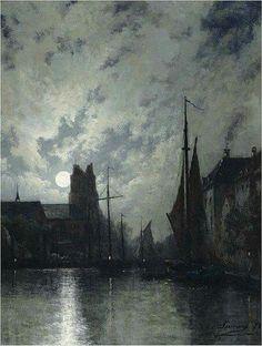 Egide François Leemans (1839-1883) - Canal in Dordrecht at moonlight (1875)