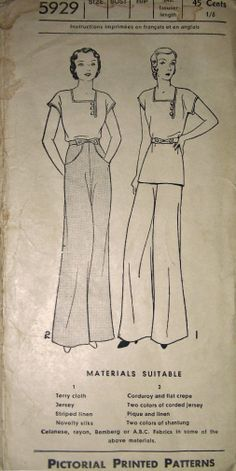 Pictorial Review 5929; late 1920s or early 1930s; Women's, Misses' and Juniors' Pajamas. Short kimono sleeves and a trim square neckline make the long blouse fashionable, while the novel inserted pockets elaborate the side-closing trousers. Blouse may be worn as a tuck-in or as an overblouse. The belt crosses the button buttons in front.