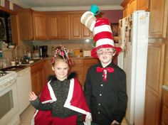 Dr Suess day at school. Duck tape cindy lu and cat in hat costumes