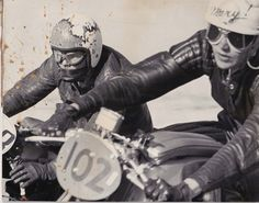 womenwhoride:  Mary McGee in 1961 road racing a CB92 Honda.