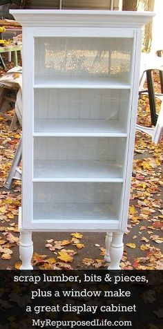using scraps bits pieces to make a display cabinet, painted furniture, repurposing upcycling