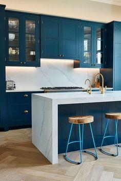 Blue Kitchen Island, Blue Kitchen Cabinets, Kitchen Island Decor, Kitchen Countertops, Lily Ann Cabinets, Two Tone Cabinets, Countertop Options, White Countertops, Shaker Cabinets