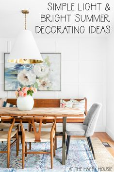 Simple Light & Bright Summer Decorating Ideas | The Happy Housie | Bright white, blue, and pink summer home tour with a coastal boho chic style. #summerdecor #bohochic Porch Decorating, Decorating Your Home, Summer Decorating, Decorating Ideas, Blue Home Decor, Spring Home Decor, Summer Mantel, Home Porch, Deco Boheme