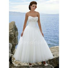 A-line Strapless Sleeveless Ankle length Satin / Tulle Wedding Dress