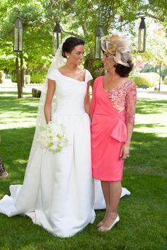 Beautiful wedding dress and fabulous hat!