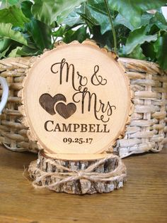 Customized Wedding Cake Topper, Personalized Cake Topper, Mr & Mrs Cake Topper, Engraved Custom Cake Topper, Wood Slice Cake Topper Rustic Wedding Cake Topper Wood Cake Topper Wood by SweetHomeWoods Wood Wedding Cakes, Rustic Wedding Cake Toppers, Country Wedding Cakes, Wedding Topper, Country Wedding Cake Toppers, Country Weddings, Wood Cake, Personalized Wedding Cake Toppers, Personalized Cake Toppers