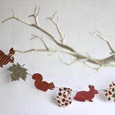 A pretty, decorative woodland bunting garland.