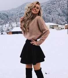 54 trendy winter outfits to help you improve your winter style . - 54 trendy winter outfits to help you improve your winter style 54 trendy winte - Cute Skirt Outfits, Cute Spring Outfits, Komplette Outfits, Cute Casual Outfits, Cute Skirts, Winter Fashion Outfits, Girly Outfits, Cute Fashion, Look Fashion