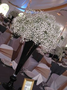 Baby's Breath Centerpiece  I Do Events - Chair Covers, Tablecloths, Wedding Table Linens, and Wedding Decor