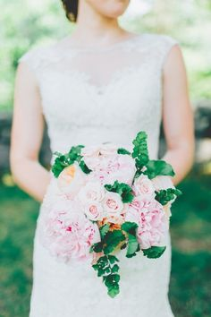 Blush wedding bouquet idea - lush bouquet of roses, garden roses, peonies and greenery {Jamie Mercurio Photography}