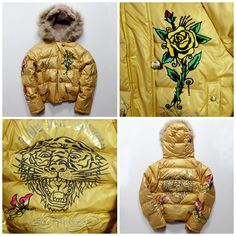 Vintage Japanese Ed Hardy Winter Rose Winter Roaring Tiger Down Jacket - Japan Lover Me Store
