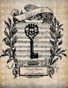 Antique French Key Shop Label Music Paris by AntiqueGraphique, $1.00