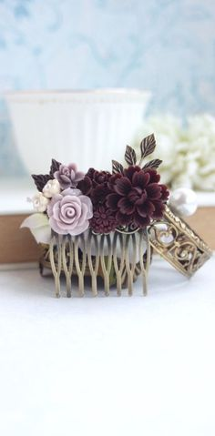 Burgundy Wedding Hair Comb, Taupe, Burgundy, Ivory, Maroon Bridal Clip, Maroon and Brown Flower Hair Piece, Rustic Romantic by Marolsha - https://www.etsy.com/listing/247322535/burgundy-wedding-hair-comb-taupe?ref=shop_home_active_22