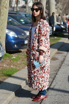 MFW Street Style Day Five: Statement coat with 3D flowers