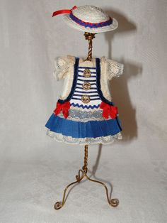 """Dress Bonnet for Tiny Mignonette All Bisque French German Doll Antique 6"""" 7 5"""" 