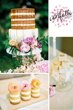 Mixed tier modern wedding cake with beautiful fresh blooms. Naked cake with salted caramel drip. Mini-naked cakes and gold leaf coconut cream marshmallows.       Cake: The Confetti Cakery.    Photo: W O O K I E Photography.   Flowers: Catkin Flowers.