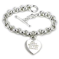 {Love} Engravable Heart Bracelet