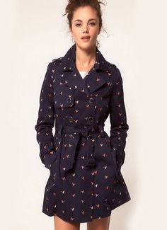 Women's Long-sleeved Double-Breasted with Bird Stamp Windbreaker Coat