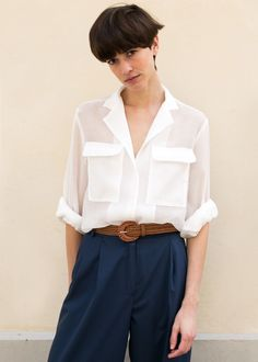 White Sheer Crepe Blouse – The Frankie Shop