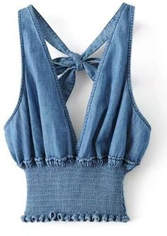 721bf59c4c4f21 Shein Plunging V-Neckline Knot Back Elastic Waist Denim Top Blue Denim