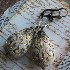 Ivory and Gold Ornate Teardrop Earrings