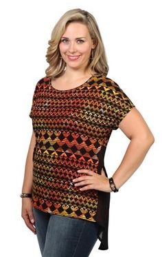 plus short sleeve dolman top in aztec print with chiffon fishtail back