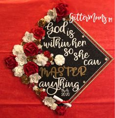 God is Within Her Masters Graduation Cap Topper Graduation Cap Toppers, Graduation Cap Designs, Graduation Cap Decoration, Graduation Quotes, Graduation Diy, Grad Cap, Graduation Invitations, Graduation Announcements, Graduation Picture Poses