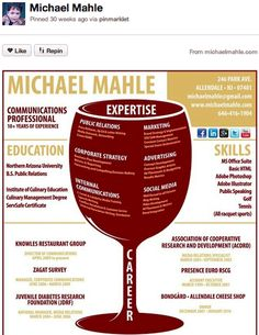 Create your own Pinterest CV!  Tip: In lieu of, or in addition to, posting a regular written resume, use Pinterest as a way to create a visual representation of your resume or professional experience. Create boards for your work experience, awards and accomplishments, degrees or classes, a portfolio of your work, and even your hobbies and interests. (Click on the image to see how it's done!)