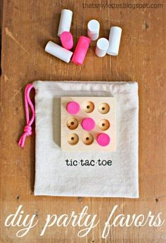 Looking for an easy to make party favor? Portable tic tac toe game made with wood scraps. *** CHOKING HAZARD: NOT SUITABLE FOR TODDLERS *** How to make tic tac toe party favors: Use a scrap cut at 3 long. Draw the grid using the dimensions bel Woodworking Projects For Kids, Easy Wood Projects, Woodworking Joints, Woodworking Workshop, Woodworking Tips, Woodworking Lamp, Woodworking Blueprints, Intarsia Woodworking, Fun Projects