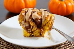 Whole Wheat Pumpkin Pie Cinnamon Rolls with Caramel Cream Cheese Frosting