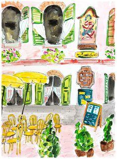 "Salzburg painting. Drawing ""Cafe in Salzburg."" Travel art Austria. Wall art cafe terrace. Home decor Salzburg. Ink pen acrylic cafe art"