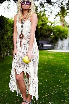 Alexandra Spencer in Free People crochet dress for January 2012 LookBook.