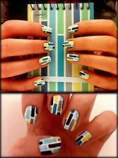 colorful rectangles!    check out the tutorial for this design: http://www.youtube.com/watch?v=Mv9aUtq7yoE    Colors used:   Milani-Fresh Teal  American Apparel-Mount Royal  Confetti-Wedding White  Sally Hansen-Mellow Yellow  Sally Hansen-Mint Sorbet  Color Club-Take me to your chateau  Icing-Grey Skys