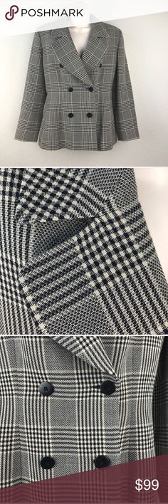 VTG 90s Armani Double Breasted Italian Blazer Vintage 90s Giorgio Armani Le Collezioni double breasted wool jacket with soft cupro lining. Made in Italy, amazing woven plaid fabric and feels like a dream to put on and take off. Great for work or after work with a pair of distressed vintage jeans. Size 6 is a small 6 with bracelet length sleeves. Giorgio Armani Jackets & Coats Blazers