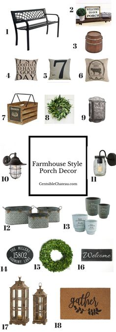 These farmhouse style porch decor ideas will help you create the perfect fixer u. These farmhouse style porch decor ideas will help you create the perfect fixer upper style curb appeal Joanna Gaines would approve of! Farmhouse Front Porches, Country Farmhouse Decor, Farmhouse Style, Farmhouse Ideas, Country Style, Front Porch Bench, Farmhouse Trim, Farmhouse Garden, Kitchen Country