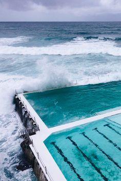 Chase your dreams! - thelavishsociety: Bondi Beach by Julia Benson Bondi Icebergs, Sydney, Water Element, Bondi Beach, Sea Waves, Roadtrip, Cool Pools, Travel Goals, Beautiful Places