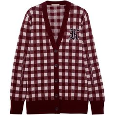 Christopher Kane Gingham wool and cashmere-blend cardigan (£1,020) ❤ liked on Polyvore featuring tops, cardigans, jackets, outerwear, burgundy, red top, cashmere blend cardigan, burgundy cardigan, burgundy top and short-sleeve cardigan