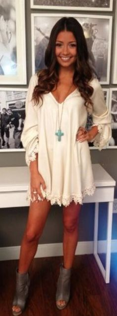 White Short Dress+Gorgeous Ankle Boots