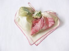 Hand painted Silk Scarf Pink Flowers Roses Spring by DEsilk, $25.00