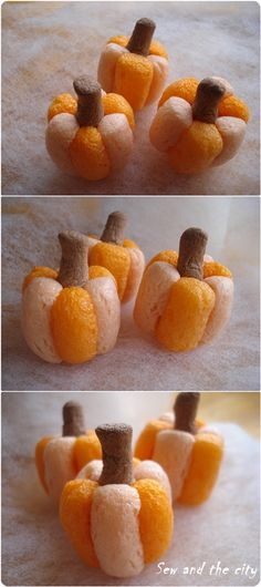 easy mini pumpkins. #DIY @Natalie Anderson maybe for MOPS! :)