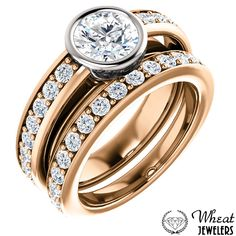 Bezel Set Round Diamond Engagement Ring with Channel Set Accent Diamonds and Matching Diamond Wedding Band available at Wheat Jewelers #engagementring #weddingband