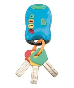 Little ones can finally have their own jingling set of keys, and that means the actual car keys stay put. This fun key chain features a flashlight, sturdy clip and four different sounds.