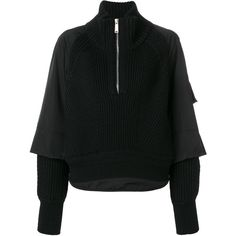 Dsquared2 layered half zip pullover ($1,306) ❤ liked on Polyvore featuring tops, sweaters, black, 1/2 zip sweater, half zip sweater, ribbed top, chunky knit jumper and ribbed sweater