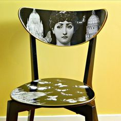 Fornasetti Ikea Hack DIY for decoupaged chair Chaise Ikea, Ikea Chair, Diy Chair, Chair Makeover, Furniture Makeover, Painted Chairs, Painted Furniture, Painted Dressers, Furniture Projects